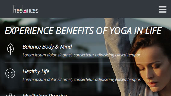 DEMO réalisation landing page responsive style yoga, vue adaptative 568x320